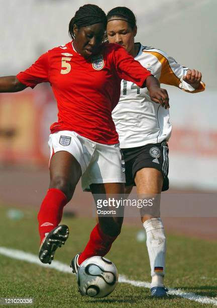 Germany's Celia Mbabi and England's Anita Asante during the FourNations Women's Tournament match between Germany and England in Guangzhou China on...