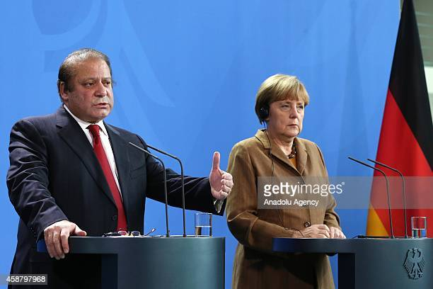 Germany's Chancellor Angela Merkel and Pakistan's Prime Minister Nawaz Sharif hold a joint press release after their meeting at the Prime Ministry...