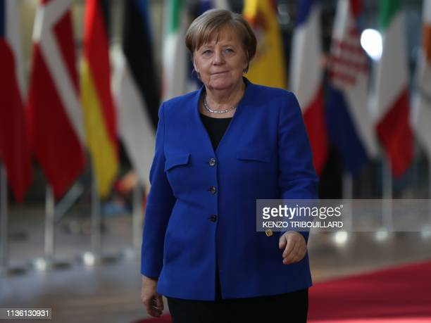 Germany's Chancellor Angela Merkel arrives ahead of a European Council meeting on Brexit at The Europa Building at The European Parliament in...