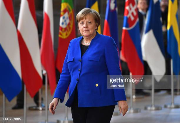 Germany's Chancellor Angela Merkel arrives ahead of a European Council meeting on Brexit at The Europa Building The European Parliament on April 10...