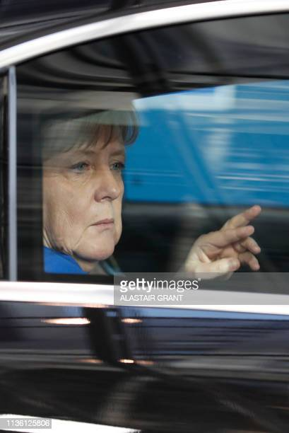Germany's Chancellor Angela Merkel arrives in her car ahead of a European Council meeting on Brexit at The Europa Building at The European Parliament...