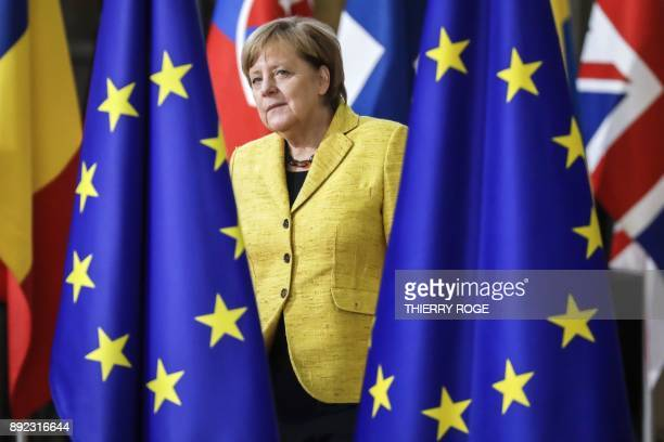 TOPSHOT Germany's Chancellor Angela Merkel arrives to attend the first day of a European union summit in Brussels on December 14 2017 European...