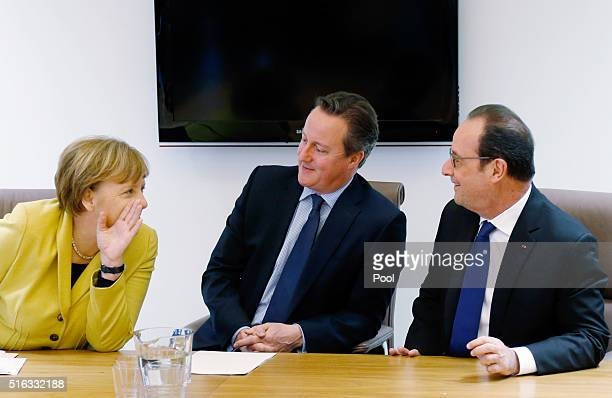 Germany's Chancellor Angela Merkel Britain's Prime Minister David Cameron and France's President Francois Hollande attend a meeting during a European...