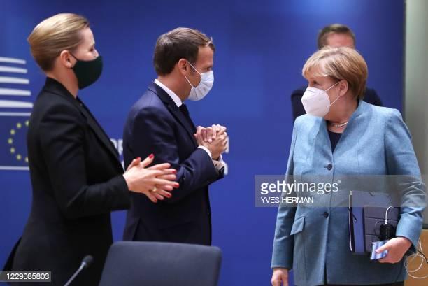Germany's Chancellor Angela Merkel , France's President Emmanuel Macron and Denmark's Prime Minister Mette Frederiksen attend the face-to-face EU...