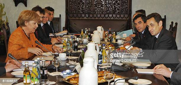 Germany's Chancellor Angela Merkel , French President Nicolas Sarkozy and French Prime Minister Francois Fillon are pictured on June 9, 2008 prior...