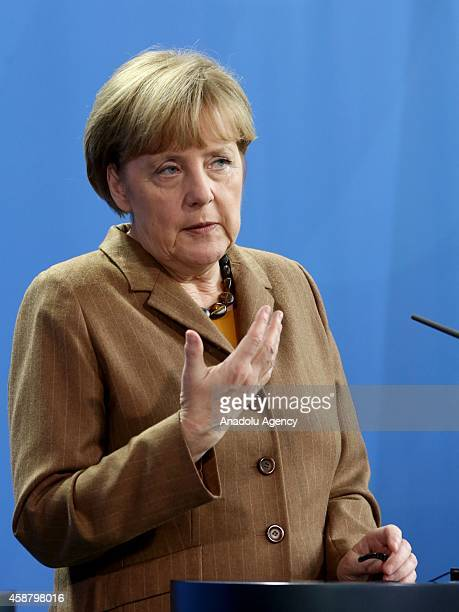 Germany's Chancellor Angela Merkel gives a speech during a joint press release with Pakistan's Prime Minister Nawaz Sharif after their meeting at the...