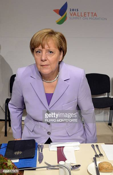 Germany's Chancellor Angela Merkel is pictured before the start of an Informal European Council meeting following the European Union - Africa Summit...