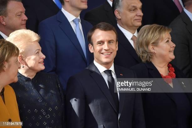 Germany's Chancellor Angela Merkel Lithuania's President Dalia Grybauskaite France's President Emmanuel Macron Norway's Prime Minister Erna Solberg...