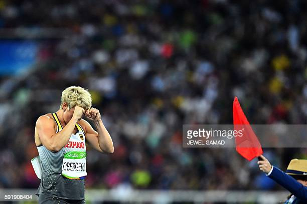 Germany's Christina Obergfoll reacts in the Women's Javelin Throw Final during the athletics event at the Rio 2016 Olympic Games at the Olympic...