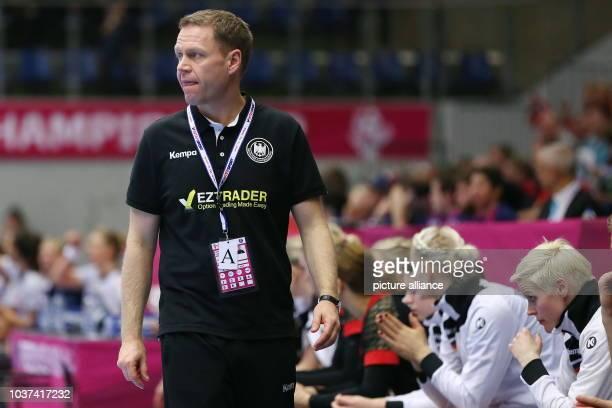 Germany's coach Jakob Vestergaard during the World Women's HandballChampionship match between Germany and Norway in Frederikshavn Denmark 13...