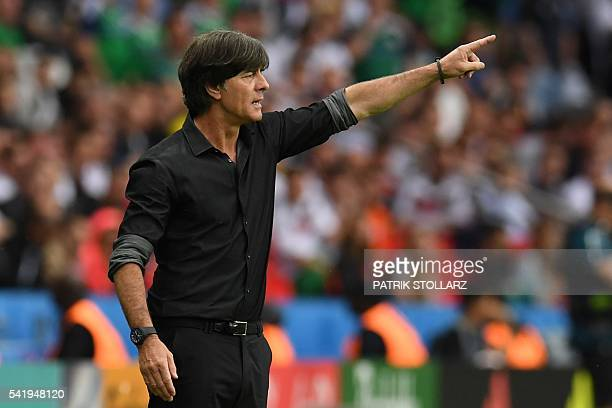 Germany's coach Joachim Loew gestures during the Euro 2016 group C football match between Northern Ireland and Germany at the Parc des Princes...