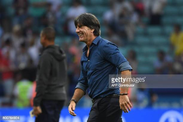 Germany's coach Joachim Loew reacts at the end of the 2017 FIFA Confederations Cup group B football match between Germany and Cameroon at the Fisht...