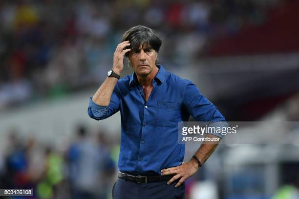 Germany's coach Joachim Loew reacts during the 2017 FIFA Confederations Cup semifinal football match between Germany and Mexico at the Fisht Stadium...