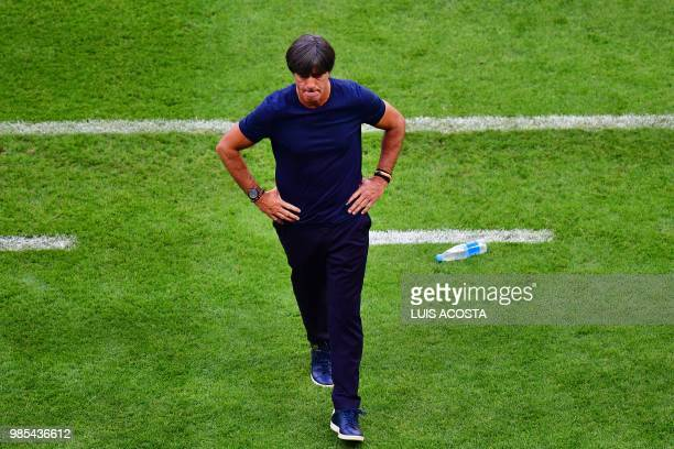 TOPSHOT Germany's coach Joachim Loew reacts during the Russia 2018 World Cup Group F football match between South Korea and Germany at the Kazan...