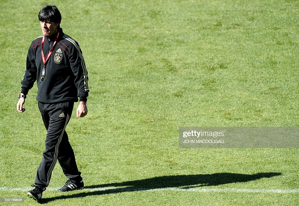 Germany's coach Joachim Loew takes part in a training session at the Super stadium in Atteridgeville near Pretoria June 16, 2010. The 2010 World Cup hosted by South Africa continues through July 11.