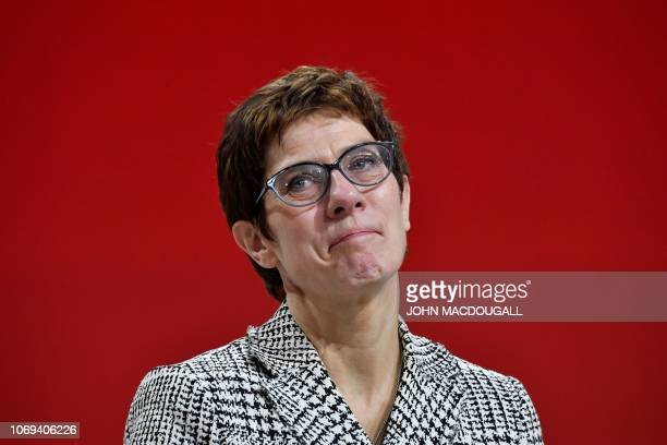 Germany's conservative Christian Democratic Union party's Secretary General Annegret KrampKarrenbauer reacts on stage after she was elected as...
