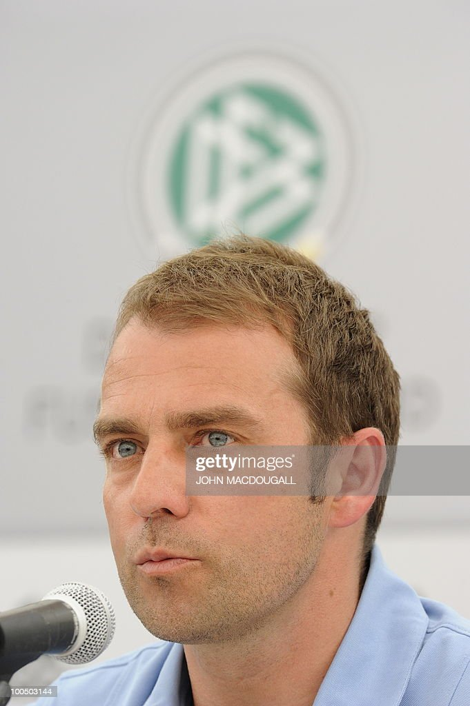 Germany's co-trainer Hansi Flick addresses a press conference in Appiano, near the north Italian city of Bolzano May 25, 2010. The German football team is currently taking part in a 12-day training camp in Appiano to prepare for the upcoming FIFA Football World Cup in South Africa.