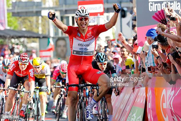 Germany's cyclist Marcel Kittel of Etixx Quick Step team crosses the finish line to won the 3rd stage of the 99th Giro d'Italia Tour of Italy from...