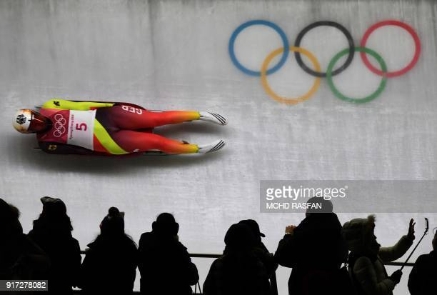 Germany's Dajana Eitberger competes in the women's luge singles run 1 during the Pyeongchang 2018 Winter Olympic Games, at the Olympic Sliding Centre...