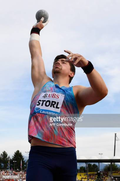 Germany's David Storl competes in the men's shot put event during the Diamond League athletics meeting Athletissima in Lausanne on July 6 2017 / AFP...