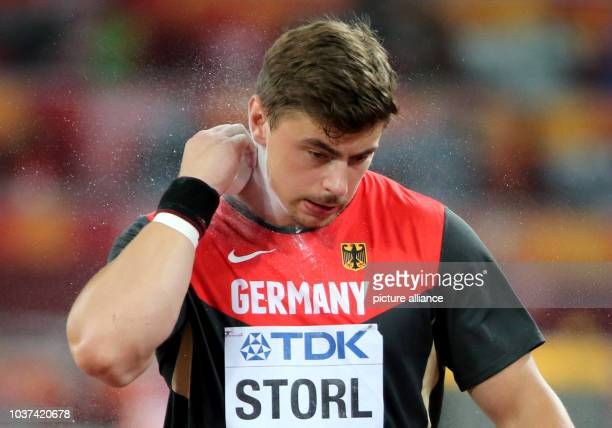 Germany's David Storl prepares for the Men's Shot Put final at the 15th International Association of Athletics Federations Athletics World...