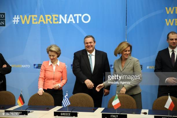 Germany's Defence Minister Ursula Von Der Leyen Spain's Defence Minister Maria Dolores de Cospedal and Greek Defence Minister Panos Kammenos attend...