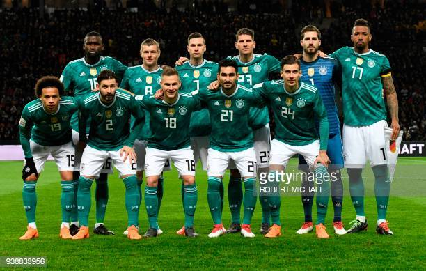 Germany's defender Antonio Ruediger Germany's midfielder Toni Kroos Germany's midfielder Julian Draxler Germany's midfielder Mario Gomez Germany's...