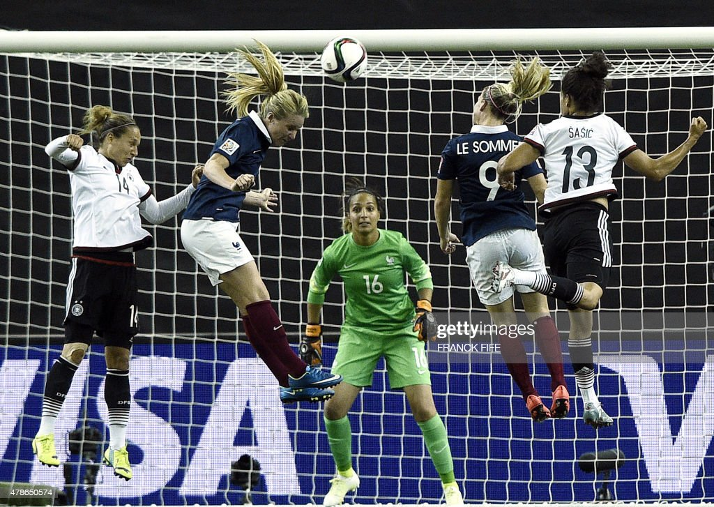 Germany's defender Babett Peter (L), France's midfielder Amandine Henry (2L), France's forward Eugenie Le Sommer (2R) and Germany's forward Celia Sasic (R) jump for the ball during the quarter-final football match between Germany and France in the 2015 FIFA Women's World Cup at the Olympic Stadium in Montreal, Quebec on June 26, 2015.