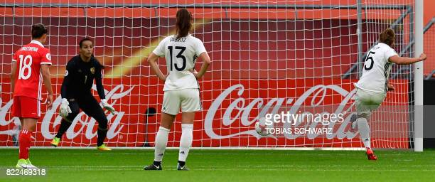 Germany's defender Babett Peter scores during the UEFA Women's Euro 2017 football match between Russia and Germany at Galgenwaard Stadium in Utrecht...