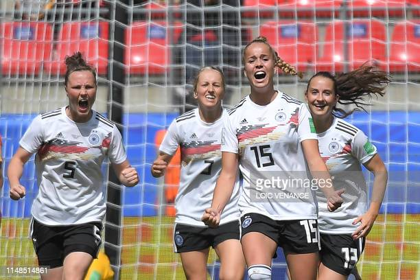 Germany's defender Giulia Gwinn celebrates after scoring a goal during the France 2019 Women's World Cup Group B football match between Germany and...