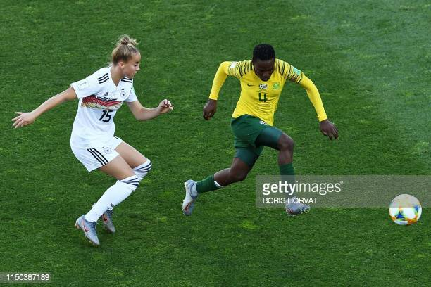 Germany's defender Giulia Gwinn vies for the ball with South Africa's defender Noko Matlou during the France 2019 Women's World Cup Group B football...