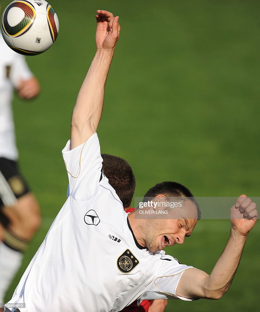 Germany's defender Heiko Westermann is pictured during a training match Germany vs Sued Tyrol FC at the team's training centre in Appiano, near the north Italian city of Bolzano May 24, 2010. The German football team is currently taking part in a 12-day training camp in Appiano to prepare for the upcoming FIFA Football World Cup in South Africa.