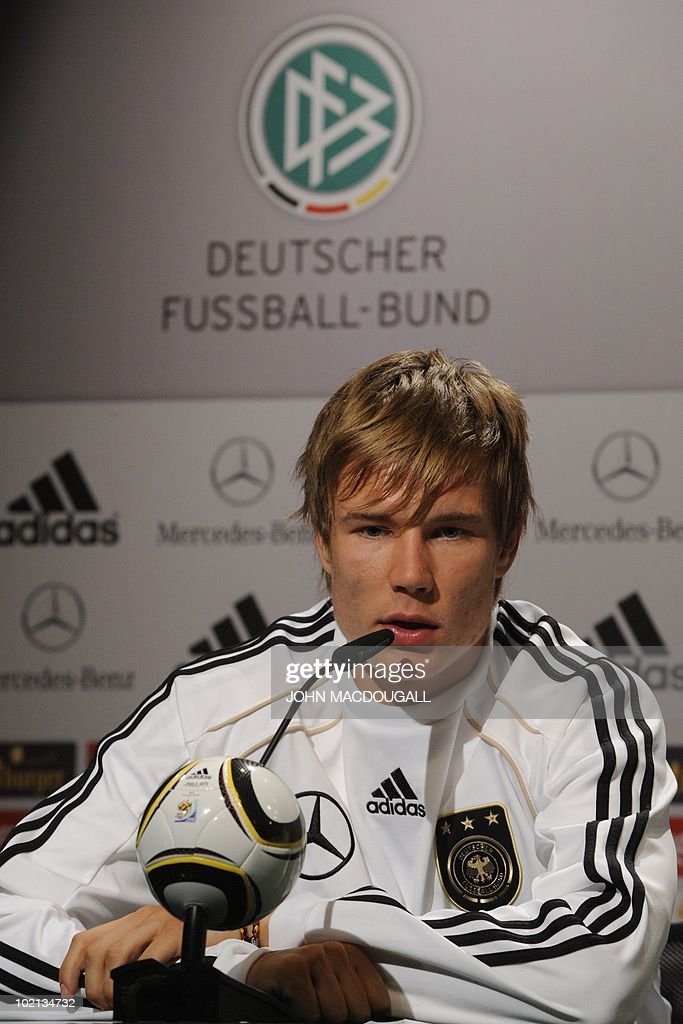 Germany's defender Holger Badstuber addresses a press conference at the Velmore hotel in Erasmia near Pretoria on June 16, 2010 during the 2010 World Cup football tournament in South Africa.