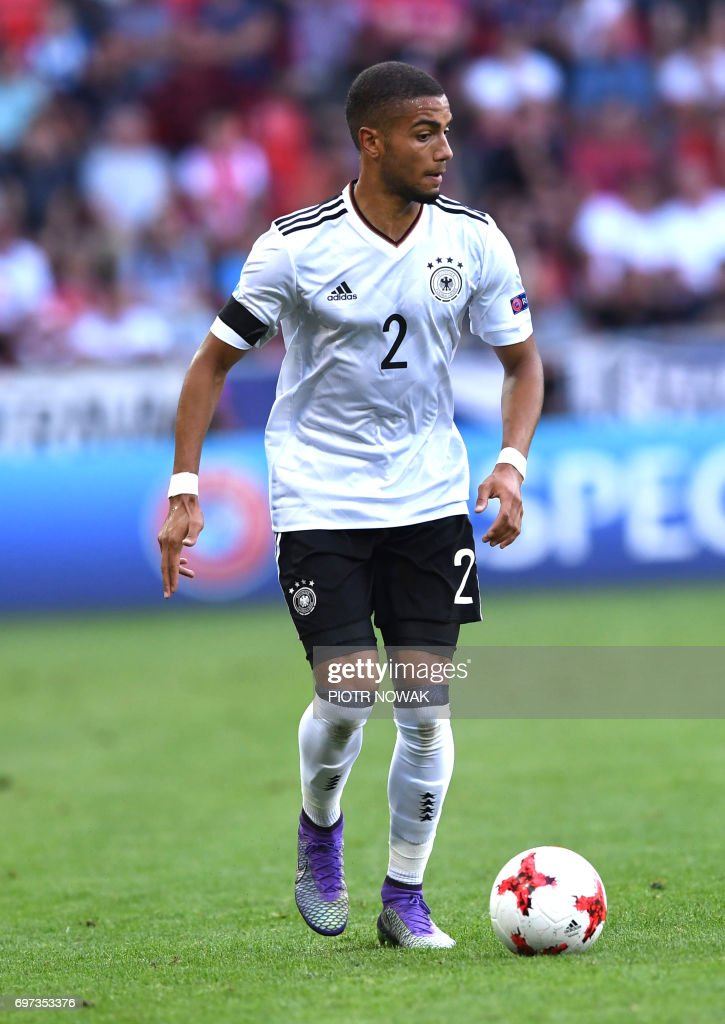 Germany's defender Jeremy Toljan play the ball during the UEFC U-21 European Championship Group C football match Germany vs Czech Republic in Tychy, Poland on June 18, 2017. /
