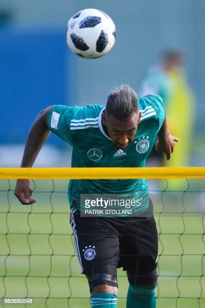 Germany's defender Jerome Boateng attends a training session in Vatutinki on June 25 during the Russia 2018 World Cup football tournament