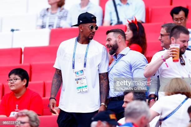 Germany's defender Jerome Boateng sits in the stands during the Russia 2018 World Cup Group F football match between South Korea and Germany at the...
