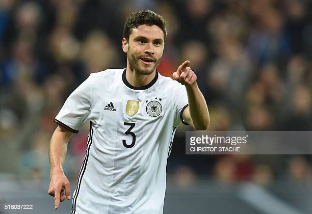Germany's defender Jonas Hector celebrates scoring the 30 his first goal for Germany during the friendly football match Germany vs Italy in Muinch...