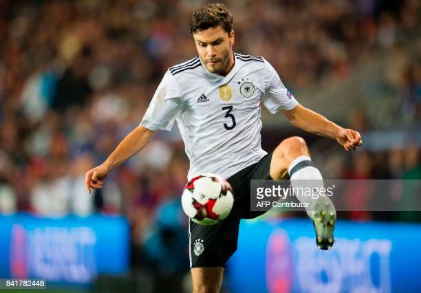 Germany's defender Jonas Hector plays the ball during the FIFA World Cup 2018 qualification football match between Czech Republic and Germany in...