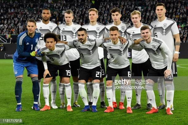 Germany's defender Jonathan Tah Germany's defender Lukas Klostermann Germany's defender Marcel Halstenberg Germany's midfielder Kai Havertz Germany's...