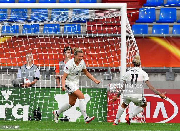 Germany's defender Josephine Henning reacts after scoring during the UEFA Women's Euro 2017 football match between Germany and Italy at Stadium...