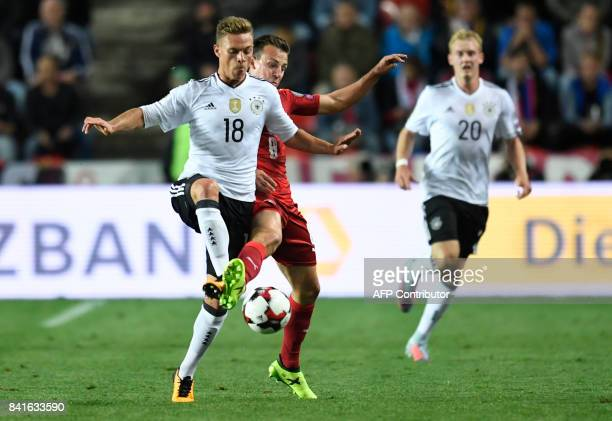 Germany's defender Joshua Kimmich and Czech Republic's Vladimir Darida vie for the ball during the FIFA World Cup 2018 qualification football match...