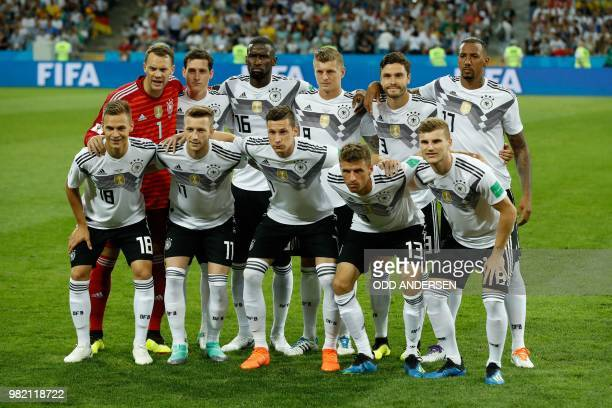 Germany's defender Joshua Kimmich Germany's forward Marco Reus Germany's forward Julian Draxler Germany's forward Thomas Mueller Germany's forward...