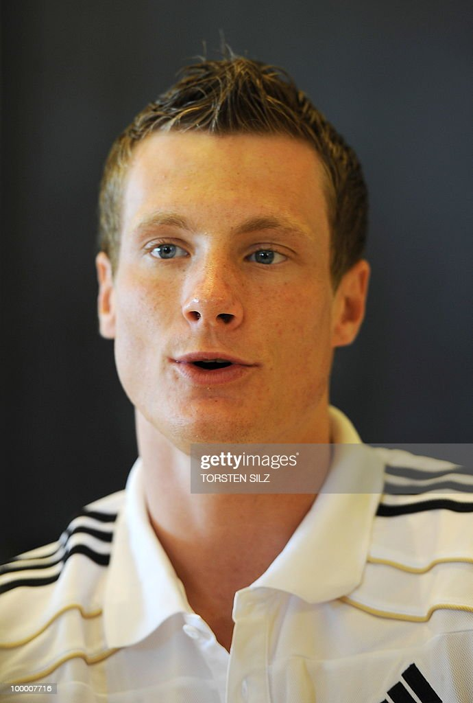 Germany's defender Marcell Jansen gives an interview during a so-called media day at the Verdura Golf and Spa resort, near Sciacca May 19, 2010. The German team is currently taking part in a 'Regeneration' camp in Sicily to prepare for the upcoming FIFA Football World Cup in South Africa.