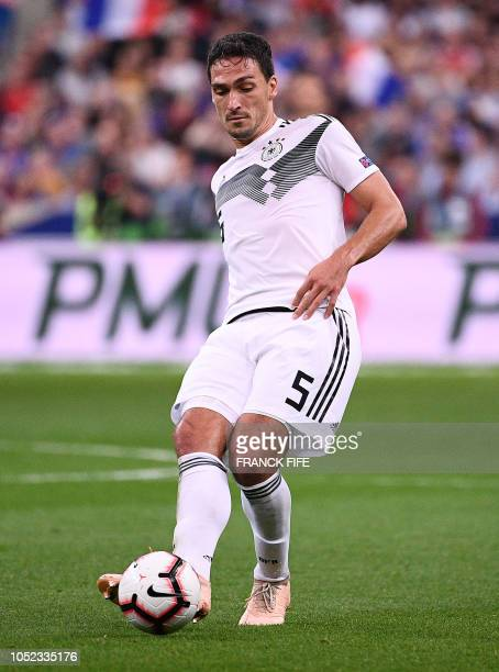 Germany's defender Mats Hummels plays the ball during the UEFA Nations League football match between France and Germany at the Stade de France in...