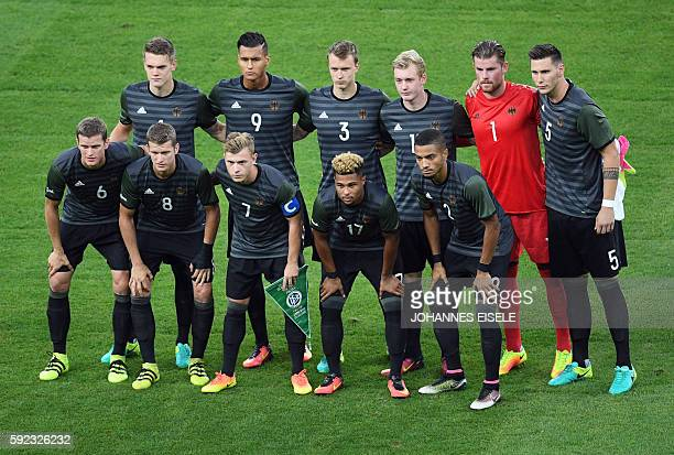 Germany's defender Matthias Ginter Germany's forward Davie Selke Germany's defender Lukas Klostermann Germany's midfielder Julian Brandt Germany's...