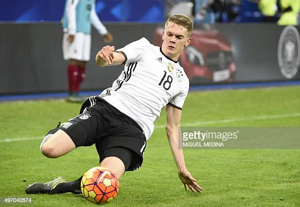 Germany's defender Matthias Ginter kicks the ball during a friendly international football match between France and Germany ahead of the Euro 2016 on...