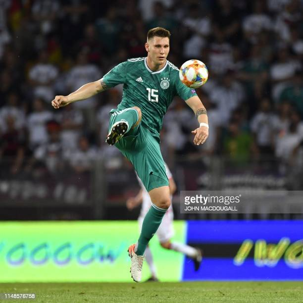 Germany's defender Niklas Suele controls the ball during the Euro 2020 football qualification match between Belarus and Germany in Borisov outside...