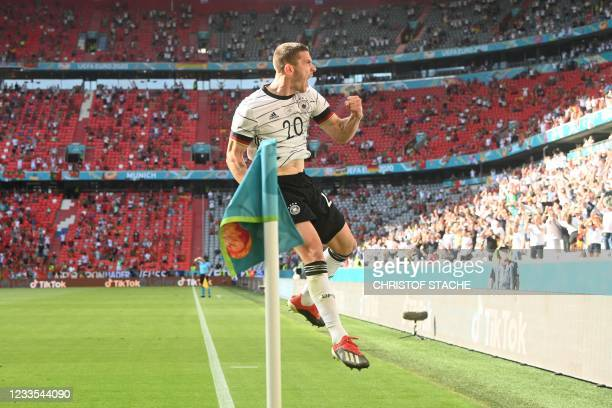 Germany's defender Robin Gosens celebrates a goal then disallowed during the UEFA EURO 2020 Group F football match between Portugal and Germany at...