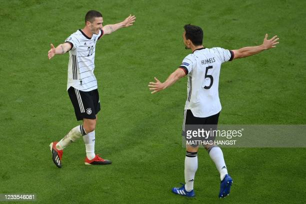 Germany's defender Robin Gosens celebrates scoring their fourth goal with Germany's defender Mats Hummels during the UEFA EURO 2020 Group F football...