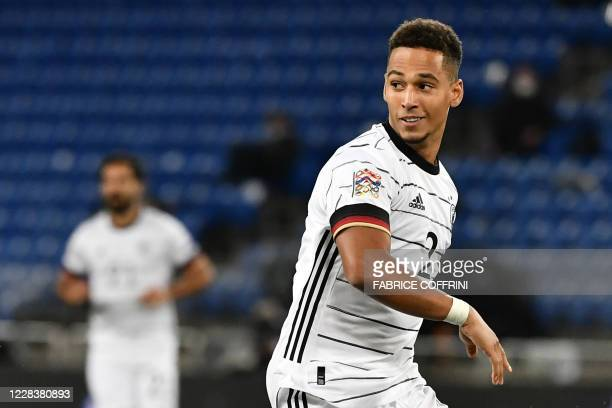Germany's defender Thilo Kehrer looks on during the UEFA Nations League football match between Switzerland and Germany at the St. Jakob-Park in...